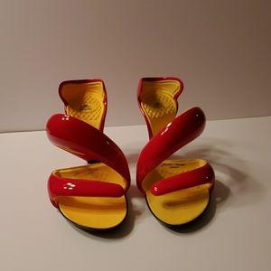 Julian Hakes mojito shoe red and yellow